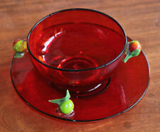 Selenium red bowl and underplate, early 20th c. Murano, lampwork apples [5727]