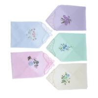 5Pcs Vintage Cotton Floral Embroidered Handkerchief Hankies Hanky Women Gift