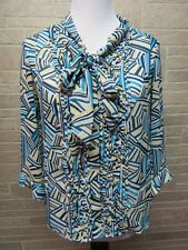 Banana Republic Size L Lg Petite Blouse Abstract Print Yellow Teal w/ Tie @ Neck