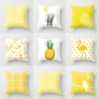Simple Geometric Cushion Cover Yellow Lines Decorative Sofa Throw Pillow Case