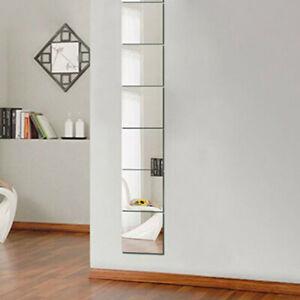 9pcs Square Mirror Self Adhesive Stick Tile Wall Sticker Room Home Decor 15x15cm