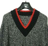 ex M&S Ladies Jumper Navy Blue Mix Cotton Blend Textured V Neck BNWOT Marks