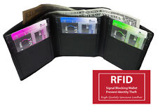 RFID BLOCKING MENS LEATHER ID WINDOW 12 SLOT CREDIT CARDS TRIFOLD WALLET NR