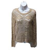 Olive & Oak Open Knit Sweater Long Sleeve Beige Womens S Top Pullover Casual