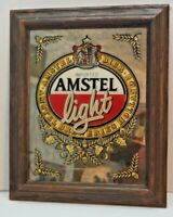 AMSTEL IMPORTED LIGHT BEER MIRROR SIGN DISPLAY 18.1/2'' VINTAGE