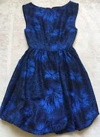 Alice & Olivia Cocktail Bubble Hem Sleeveless Cocktail Dress, Size 0, Blue EUC!