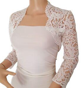 Womens Ivory wedding Corded  Lace 3/4 or Short sleeve Bolero Jacket Size UK 8-18