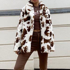 White & Brown Cow Animal Print Faux Fur Coat Jacket Retro Y2k Winter Uk Stock