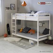 lit enfant superposé lit mezzanine bois pin massif blanc single 90x200
