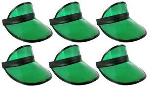 6 Pack Retro Tennis Beach Plastic Sun Bingo Dealer Golf Casino Visors Hats