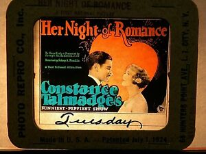 """HER NIGHT OF ROMANCE"", 1924 , ORIGINAL COLOR GLASS SILENT MOVIE SLIDE"