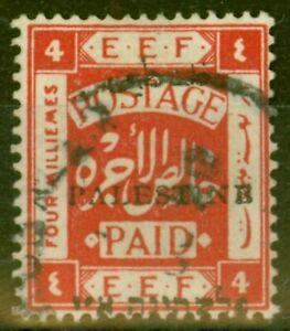Palestine 1920 4m Scarlet SG19d PALESTINB (setting II) Error Fine Used