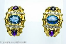 Cabochon Sapphire Amethyst Diamond Accent 14K Yellow Gold Earrings Omega