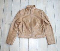 Women's Vintage Fitted Beige 100% Leather Biker Style Jacket Coat Size L