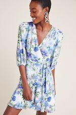 NWT Anthropologie Yumi Kim Blue Floral Kiera Wrap Dress S