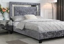 AUGUSTINA CRUSHED VALVET DOUBLE BED SILVER WITH MIRROR