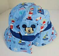 Disney Store Mickey Mouse Baby Boys Sun Hat Size 12-18 Months with strap blue