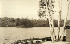Poland Springs ME Rolly's Camp Lake Scene c1940s Real Photo Postcard
