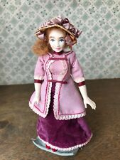 Vintage Artisan Made Dollhouse Victorian Doll Hand Painted 1:12 Doll Only