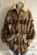RUFFO brown shades VINTAGE fur & sheepskin coat jacket - L / UK12-14