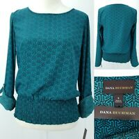 New Dana Buchman Womens Small Turquoise Geometric Roll Sleeve Smocked Blouse Top