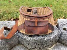 #1 Vintage Antique Fishing Creel Basket Fisherman Trout & Fly Fishing Straps #1