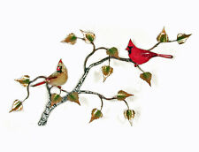 Wall Art - Mated Cardinal Pair On Birch Branch Metal Wall Sculpture - Wall Decor