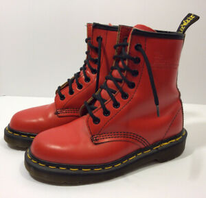 Dr. Martens 1460 8 Eyelet Boots Patent Leather Red Women's SZ 6