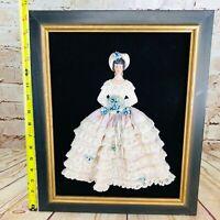 "Vintage Victorian Woman Painting 16.5"" Black Gold Frame Antique"
