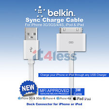 Belkin Charge & Sync cable for iPhone 4/4s 3/3GS, iPad 1,2 ,3 Gen F2CU005BT3MWH