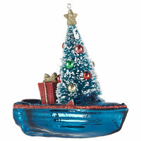 Glass BOAT with CHRISTMAS TREE Large Christmas Ornament, by Raz