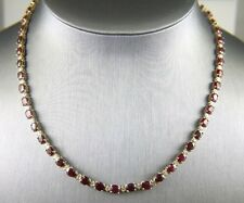 Fine Oval Ruby & Diamond Link Lady's Tennis Necklace 14K Yellow Gold 31.50Ct