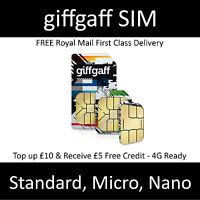 ● Giffgaff gifgaf Nano/Micro/Standard 3 in 1 SIM FREE £5 Credit Unlimited Data ●