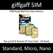 ● Giffgaff gifgaf Nano/Micro/Standard 3 in 1 SIM FREE £5 Credit Unlimited Data ●