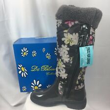 DEBLOSSOM Grey Floral Women's Fur Lined Rainboot Malak-2