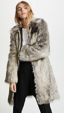 NWOT Helmut Lang Faux Wolf Fur Leather Trim Buckle Detail Coat Jacket XS $995