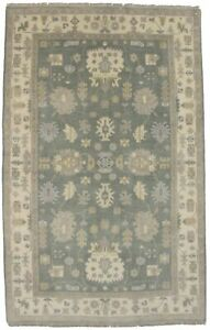 Brand New Muted Green Hand Knotted 5X8 Chobi Oushak Oriental Area Rug Carpet