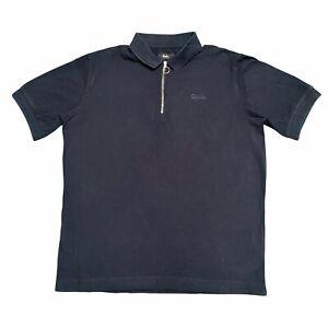 RAPHA Men's Cotton Zip Neck Navy Polo Shirt Short Sleeve Medium M Cycling
