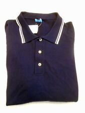 J McLaughlin Cotton Blend Knit Long Sleeve Polo Shirt NWT XL $155 Navy Blue