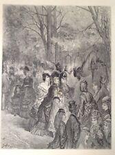 Londres, jardines, Gustave Dore zoológica 1872 impresión antiguo, el Parrot Caminar