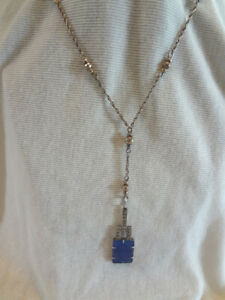 Fabulous Early Vintage Art Deco Sterling Lavalier Necklace With Blue Stone