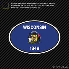 Wisconsin State Flag Oval Sticker Die Cut Decal V4 WI