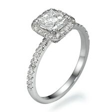 CHRISTMAS 2 CT DIAMOND ENGAGEMENT RING CUSHION D/SI1 ENHANCED 14K WHITE GOLD