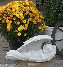 Statue Grand ange dans des ailes en pierre reconstituée, ton pierre blanche