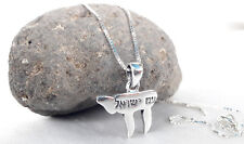 "Sterling Silver Jewish necklace&pendant Life Chai Lives Engraving of ""Am israel"""