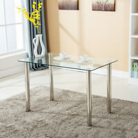 Modern Rectangular Glass Surface Dining Table Kitchen Dining Room Furniture