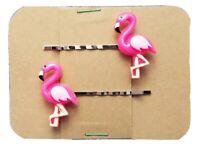 FLAMINGO PINK Animal - Handmade Bobby PIn Hair clips - Set of 2