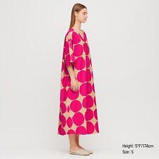 oversized Marimekko size S (fits 10 12 14 16) v-neck midi dress linen/cotton