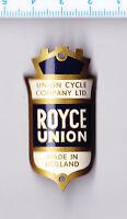 Vintage ROYCE UNION LTD. Bicycle Cycle Head Badge Bike Cycles Emblem Logo Shield