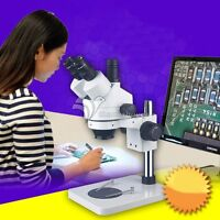 7X-45X Industry PCB Inspection Dissecting Zoom Power Stereo Microscope LED Lamp